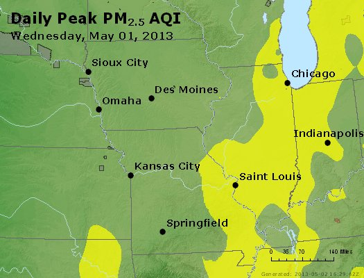 Peak Particles PM<sub>2.5</sub> (24-hour) - https://files.airnowtech.org/airnow/2013/20130501/peak_pm25_ia_il_mo.jpg