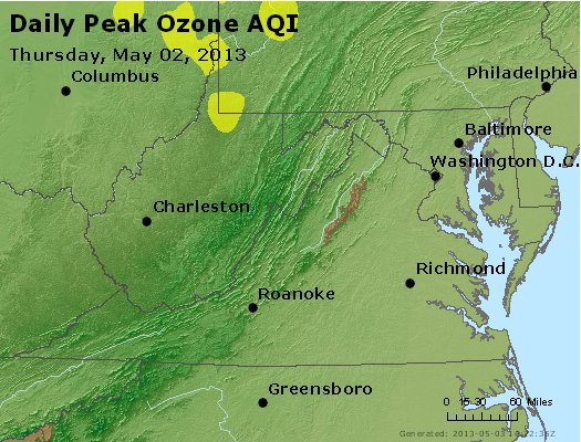 Peak Ozone (8-hour) - https://files.airnowtech.org/airnow/2013/20130502/peak_o3_va_wv_md_de_dc.jpg