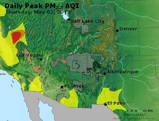 Peak Particles PM<sub>2.5</sub> (24-hour) - https://files.airnowtech.org/airnow/2013/20130502/peak_pm25_co_ut_az_nm.jpg