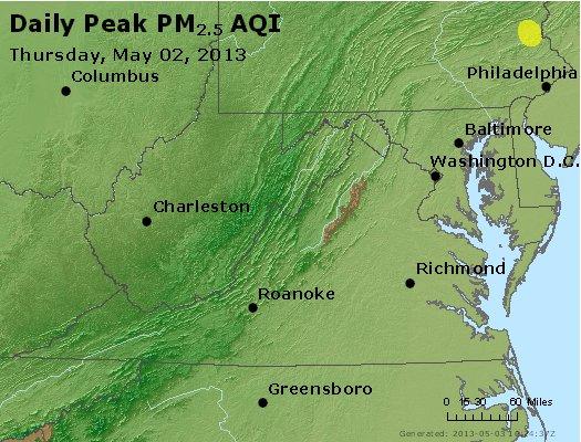 Peak Particles PM<sub>2.5</sub> (24-hour) - https://files.airnowtech.org/airnow/2013/20130502/peak_pm25_va_wv_md_de_dc.jpg
