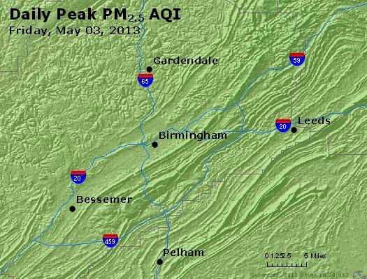 Peak Particles PM<sub>2.5</sub> (24-hour) - https://files.airnowtech.org/airnow/2013/20130503/peak_pm25_birmingham_al.jpg