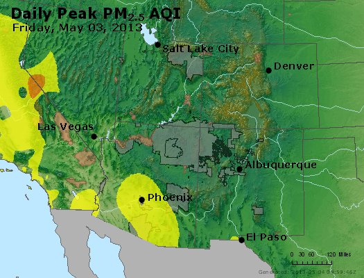 Peak Particles PM<sub>2.5</sub> (24-hour) - https://files.airnowtech.org/airnow/2013/20130503/peak_pm25_co_ut_az_nm.jpg