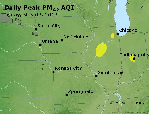 Peak Particles PM<sub>2.5</sub> (24-hour) - https://files.airnowtech.org/airnow/2013/20130503/peak_pm25_ia_il_mo.jpg