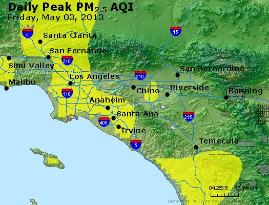 Peak Particles PM<sub>2.5</sub> (24-hour) - https://files.airnowtech.org/airnow/2013/20130503/peak_pm25_losangeles_ca.jpg