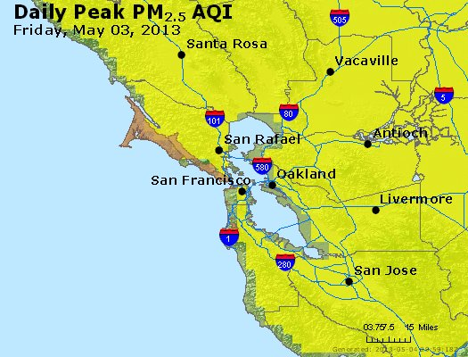 Peak Particles PM<sub>2.5</sub> (24-hour) - https://files.airnowtech.org/airnow/2013/20130503/peak_pm25_sanfrancisco_ca.jpg