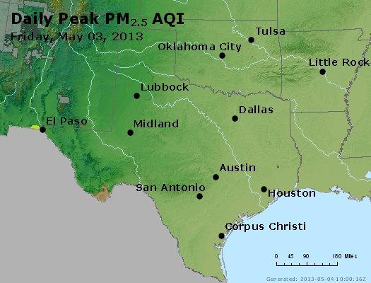 Peak Particles PM<sub>2.5</sub> (24-hour) - https://files.airnowtech.org/airnow/2013/20130503/peak_pm25_tx_ok.jpg