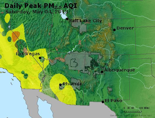 Peak Particles PM<sub>2.5</sub> (24-hour) - https://files.airnowtech.org/airnow/2013/20130504/peak_pm25_co_ut_az_nm.jpg