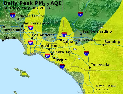 Peak Particles PM<sub>2.5</sub> (24-hour) - https://files.airnowtech.org/airnow/2013/20130505/peak_pm25_losangeles_ca.jpg