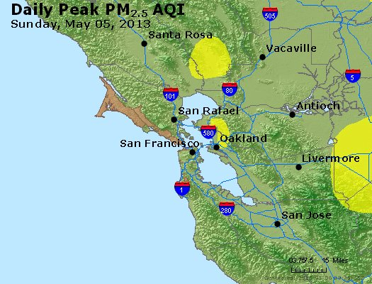 Peak Particles PM<sub>2.5</sub> (24-hour) - https://files.airnowtech.org/airnow/2013/20130505/peak_pm25_sanfrancisco_ca.jpg