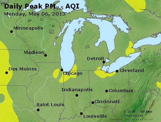 Peak Particles PM<sub>2.5</sub> (24-hour) - https://files.airnowtech.org/airnow/2013/20130506/peak_pm25_mi_in_oh.jpg