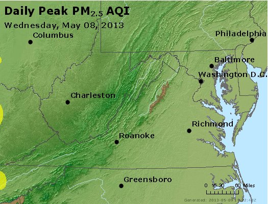 Peak Particles PM<sub>2.5</sub> (24-hour) - https://files.airnowtech.org/airnow/2013/20130508/peak_pm25_va_wv_md_de_dc.jpg