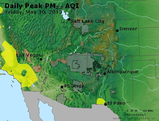 Peak Particles PM<sub>2.5</sub> (24-hour) - https://files.airnowtech.org/airnow/2013/20130510/peak_pm25_co_ut_az_nm.jpg