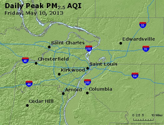 Peak Particles PM<sub>2.5</sub> (24-hour) - https://files.airnowtech.org/airnow/2013/20130510/peak_pm25_stlouis_mo.jpg