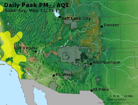 Peak Particles PM<sub>2.5</sub> (24-hour) - https://files.airnowtech.org/airnow/2013/20130511/peak_pm25_co_ut_az_nm.jpg