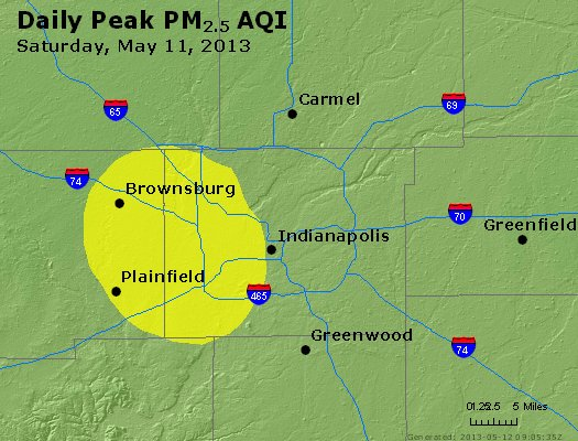 Peak Particles PM<sub>2.5</sub> (24-hour) - https://files.airnowtech.org/airnow/2013/20130511/peak_pm25_indianapolis_in.jpg