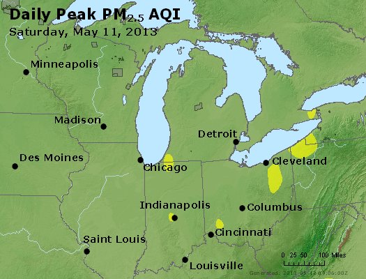 Peak Particles PM<sub>2.5</sub> (24-hour) - https://files.airnowtech.org/airnow/2013/20130511/peak_pm25_mi_in_oh.jpg