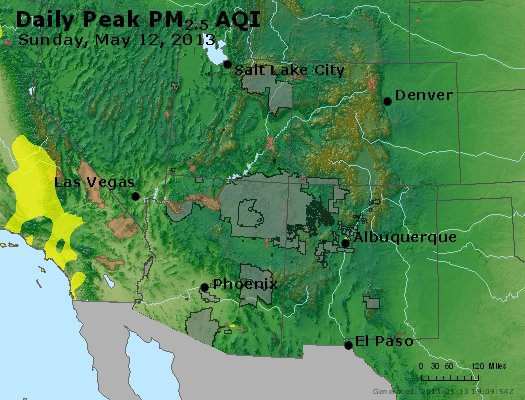 Peak Particles PM<sub>2.5</sub> (24-hour) - https://files.airnowtech.org/airnow/2013/20130512/peak_pm25_co_ut_az_nm.jpg