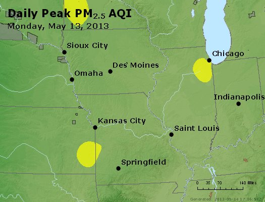 Peak Particles PM<sub>2.5</sub> (24-hour) - https://files.airnowtech.org/airnow/2013/20130513/peak_pm25_ia_il_mo.jpg