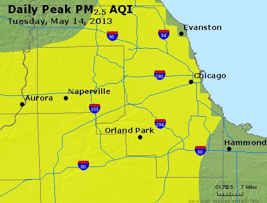 Peak Particles PM<sub>2.5</sub> (24-hour) - https://files.airnowtech.org/airnow/2013/20130514/peak_pm25_chicago_il.jpg