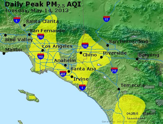 Peak Particles PM<sub>2.5</sub> (24-hour) - https://files.airnowtech.org/airnow/2013/20130514/peak_pm25_losangeles_ca.jpg