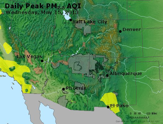 Peak Particles PM<sub>2.5</sub> (24-hour) - https://files.airnowtech.org/airnow/2013/20130515/peak_pm25_co_ut_az_nm.jpg