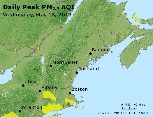 Peak Particles PM<sub>2.5</sub> (24-hour) - https://files.airnowtech.org/airnow/2013/20130515/peak_pm25_vt_nh_ma_ct_ri_me.jpg