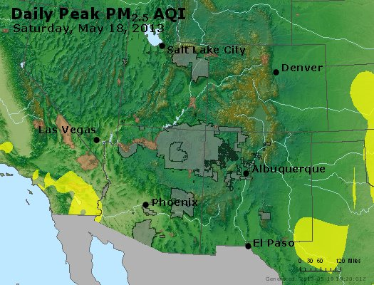Peak Particles PM<sub>2.5</sub> (24-hour) - https://files.airnowtech.org/airnow/2013/20130518/peak_pm25_co_ut_az_nm.jpg