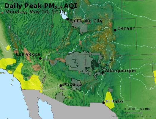 Peak Particles PM<sub>2.5</sub> (24-hour) - https://files.airnowtech.org/airnow/2013/20130520/peak_pm25_co_ut_az_nm.jpg