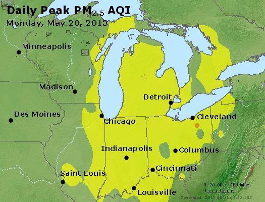 Peak Particles PM<sub>2.5</sub> (24-hour) - https://files.airnowtech.org/airnow/2013/20130520/peak_pm25_mi_in_oh.jpg