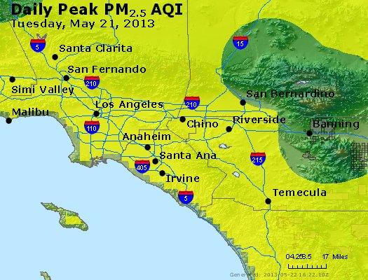 Peak Particles PM<sub>2.5</sub> (24-hour) - https://files.airnowtech.org/airnow/2013/20130521/peak_pm25_losangeles_ca.jpg