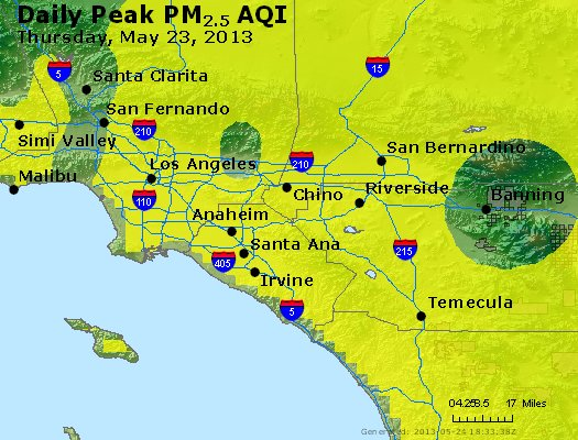 Peak Particles PM<sub>2.5</sub> (24-hour) - https://files.airnowtech.org/airnow/2013/20130523/peak_pm25_losangeles_ca.jpg