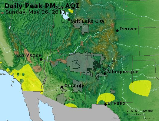 Peak Particles PM<sub>2.5</sub> (24-hour) - https://files.airnowtech.org/airnow/2013/20130526/peak_pm25_co_ut_az_nm.jpg