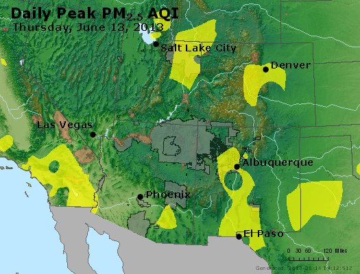 Peak Particles PM<sub>2.5</sub> (24-hour) - https://files.airnowtech.org/airnow/2013/20130613/peak_pm25_co_ut_az_nm.jpg