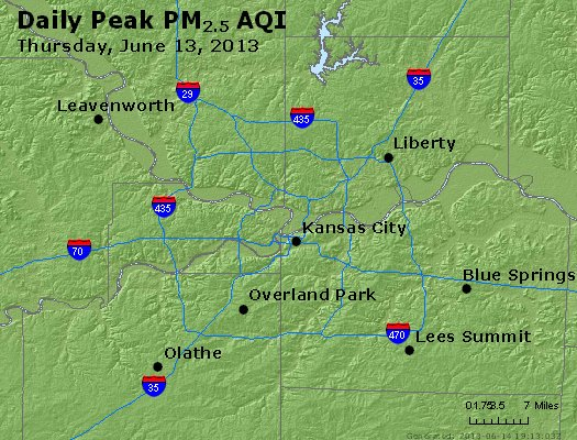 Peak Particles PM<sub>2.5</sub> (24-hour) - https://files.airnowtech.org/airnow/2013/20130613/peak_pm25_kansascity_mo.jpg