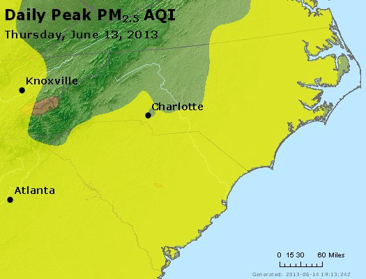 Peak Particles PM2.5 (24-hour) - https://files.airnowtech.org/airnow/2013/20130613/peak_pm25_nc_sc.jpg