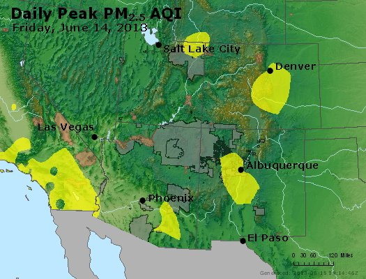 Peak Particles PM<sub>2.5</sub> (24-hour) - https://files.airnowtech.org/airnow/2013/20130614/peak_pm25_co_ut_az_nm.jpg
