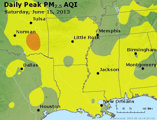 Peak Particles PM<sub>2.5</sub> (24-hour) - https://files.airnowtech.org/airnow/2013/20130615/peak_pm25_ar_la_ms.jpg