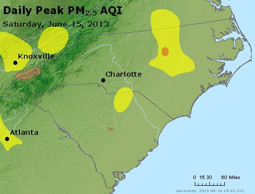 Peak Particles PM<sub>2.5</sub> (24-hour) - https://files.airnowtech.org/airnow/2013/20130615/peak_pm25_nc_sc.jpg