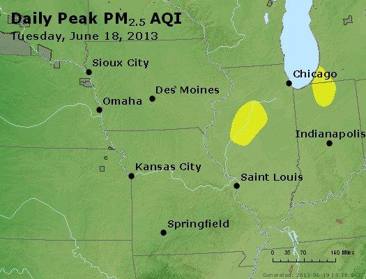 Peak Particles PM<sub>2.5</sub> (24-hour) - https://files.airnowtech.org/airnow/2013/20130618/peak_pm25_ia_il_mo.jpg