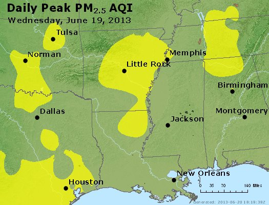 Peak Particles PM<sub>2.5</sub> (24-hour) - https://files.airnowtech.org/airnow/2013/20130619/peak_pm25_ar_la_ms.jpg