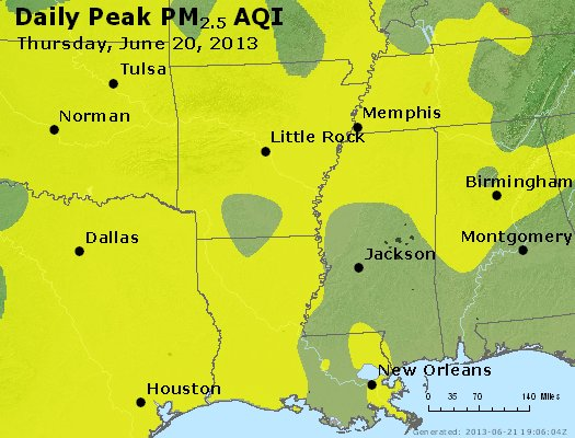 Peak Particles PM<sub>2.5</sub> (24-hour) - https://files.airnowtech.org/airnow/2013/20130620/peak_pm25_ar_la_ms.jpg