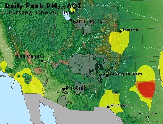 Peak Particles PM<sub>2.5</sub> (24-hour) - https://files.airnowtech.org/airnow/2013/20130620/peak_pm25_co_ut_az_nm.jpg