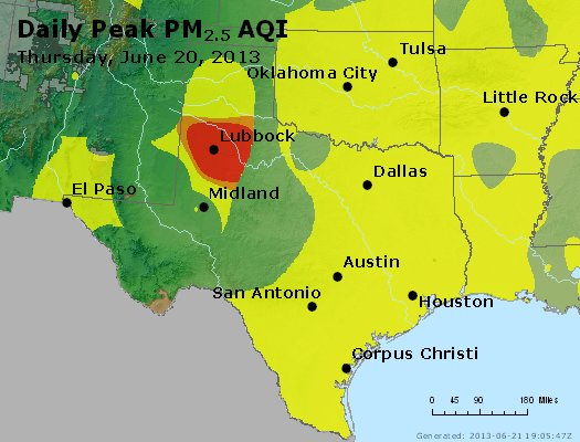 Peak Particles PM<sub>2.5</sub> (24-hour) - https://files.airnowtech.org/airnow/2013/20130620/peak_pm25_tx_ok.jpg