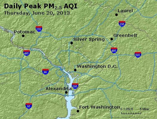 Peak Particles PM<sub>2.5</sub> (24-hour) - https://files.airnowtech.org/airnow/2013/20130620/peak_pm25_washington_dc.jpg