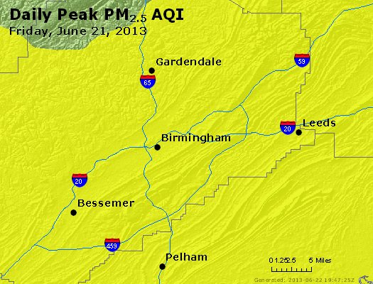 Peak Particles PM<sub>2.5</sub> (24-hour) - https://files.airnowtech.org/airnow/2013/20130621/peak_pm25_birmingham_al.jpg
