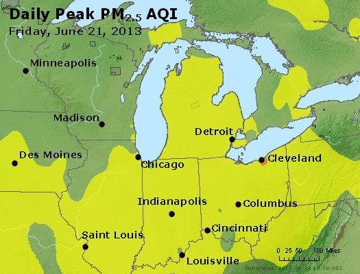 Peak Particles PM<sub>2.5</sub> (24-hour) - https://files.airnowtech.org/airnow/2013/20130621/peak_pm25_mi_in_oh.jpg