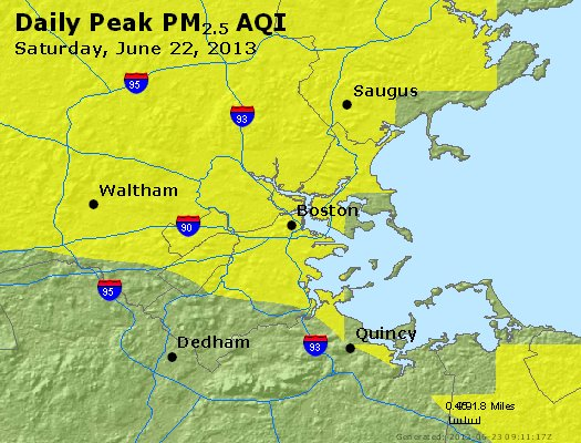 Peak Particles PM<sub>2.5</sub> (24-hour) - https://files.airnowtech.org/airnow/2013/20130622/peak_pm25_boston_ma.jpg