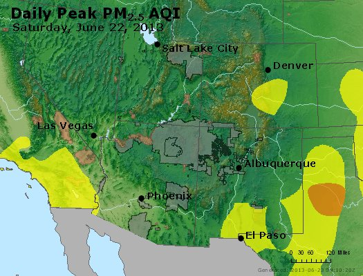 Peak Particles PM<sub>2.5</sub> (24-hour) - https://files.airnowtech.org/airnow/2013/20130622/peak_pm25_co_ut_az_nm.jpg