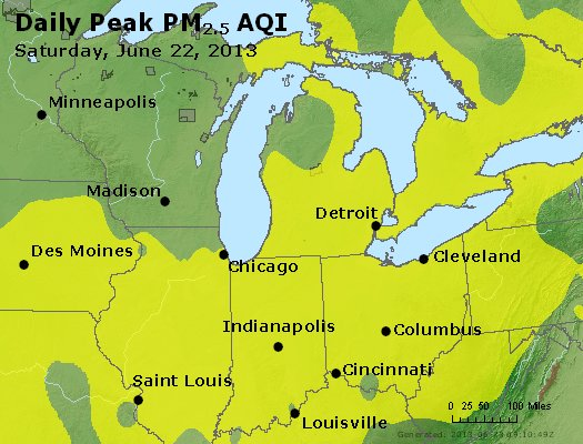 Peak Particles PM<sub>2.5</sub> (24-hour) - https://files.airnowtech.org/airnow/2013/20130622/peak_pm25_mi_in_oh.jpg