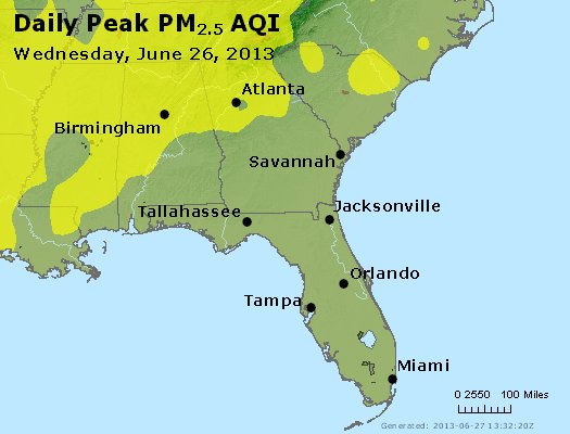 Peak Particles PM<sub>2.5</sub> (24-hour) - https://files.airnowtech.org/airnow/2013/20130626/peak_pm25_al_ga_fl.jpg
